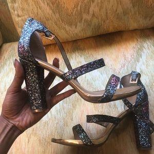 Shoes - Blue glitter sandal heels